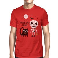 Skeleton Black Cat Mens Red Cotton Top Short Sleeve Graphic Shirt