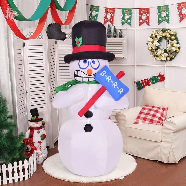 costway 6 indooroutdoor shivering snowman christmas holiday decoration setting white