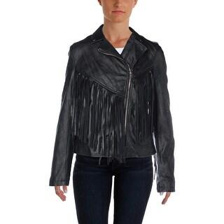 Aqua Womens Faux Leather Fringe Motorcycle Jacket - M