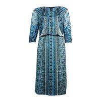 Style & Co. Women's Blouson Printed A-Line Dress - teal meadow