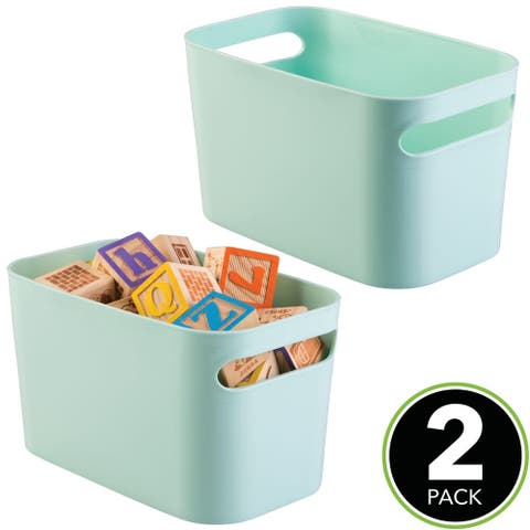 "mDesign Plastic Kids Toy Box Storage Organizer Tote Bin, 10"" Long, 2 Pack - 10 X 6"