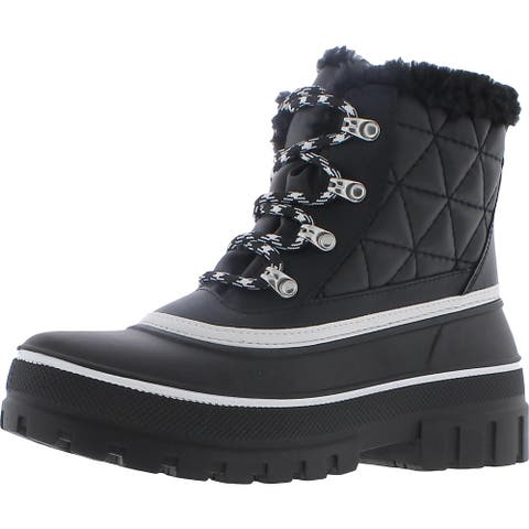 Steve Madden Womens Billow Winter Boots Leather Faux Fur - Black