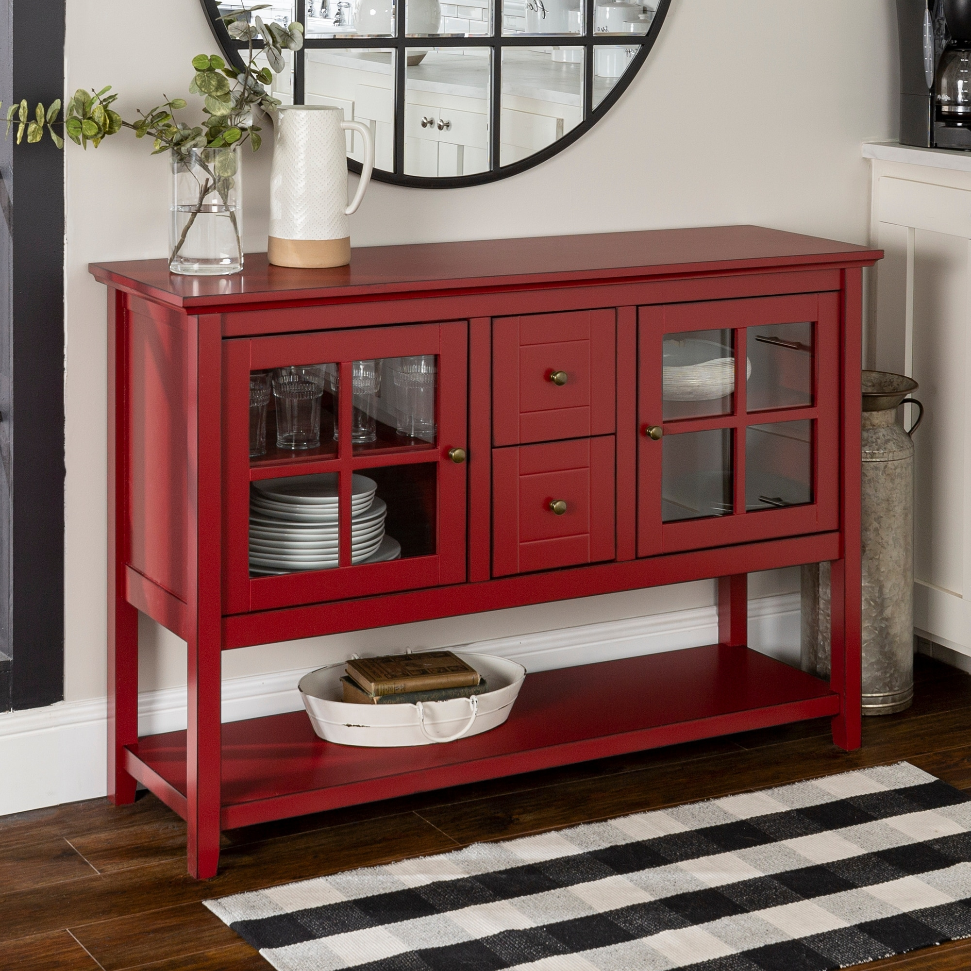 Shop Middlebrook Designs 52 Inch Antique Red Buffet Cabinet Tv Console On Sale Overstock 11770499