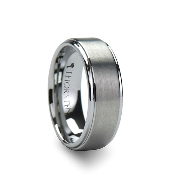 THORSTEN - OPTIMUS Raised Center with Brush Finish Tungsten Ring - 7mm