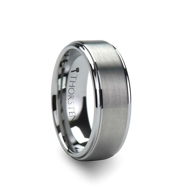 OPTIMUS Raised Center with Brush Finish Tungsten Ring