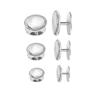 Dolan Bullock Men's Cufflinks & Stud Set in Sterling Silver - White