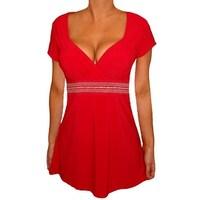 0ce935ea0d04 Funfash Plus Size Top Red Empire Waist Women s Plus Size Shirt Blouse  Clothing