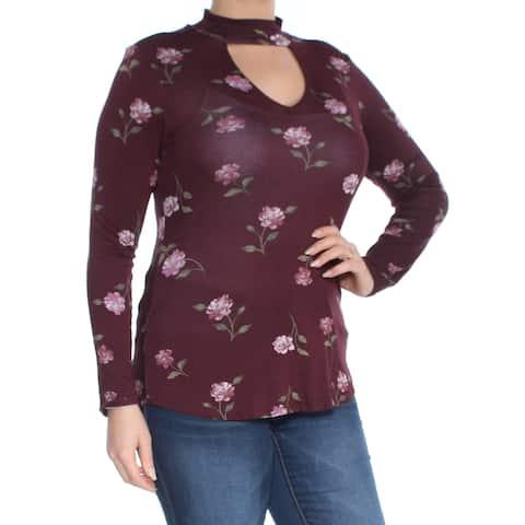 ULTRA FLIRT Womens Maroon Mock-neck Cutout Printed Long Sleeve Top Size: L