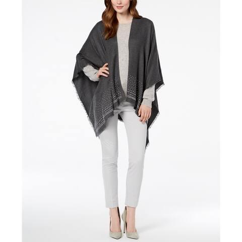 Charter Club Women's Super-Soft Embellished Poncho, Grey, One Size