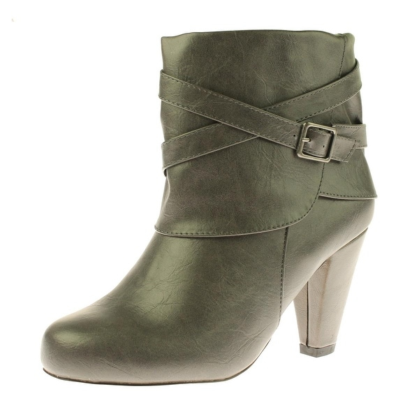 Madden Girl Womens Plaazaw Ankle Boots Faux Leather Heels - 8 wide (c,d,w)