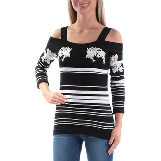 Womens Black Striped Long Sleeve Square Neck Casual Top Size 2X