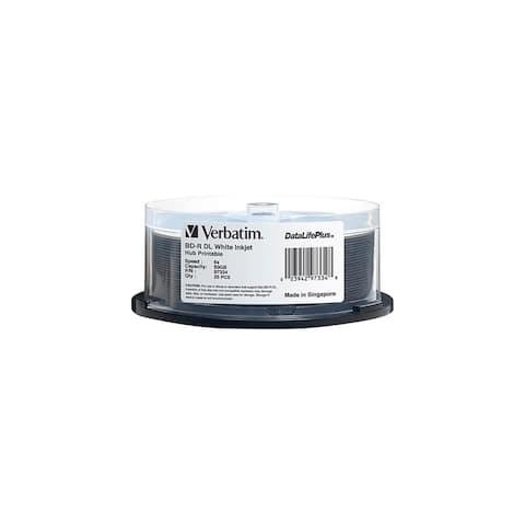 Verbatim 97334 Verbatim BD-R DL 50GB 6X DataLifePlus White Inkjet Printable, Hub Printable - 25pk Spindle - 50GB - 120mm