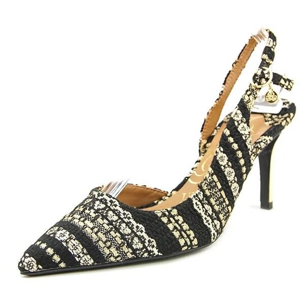 J. Renee Lacee Women W Pointed Toe Canvas Black Slingback Heel