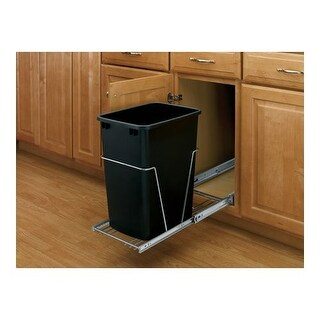 Rev-A-Shelf RV-12KD-18C S RV Series Bottom Mount Single Bin Trash Can with Full Extension Slides - 35 Quart Capacity
