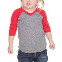 Kavio! Unisex Infants Sheer Jersey Contrast V Neck Raglan 3/4 Sleeve
