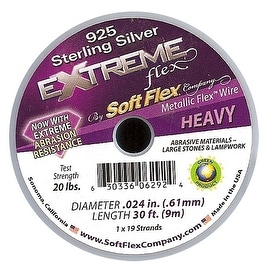 Soft Flex, Extreme Flex 19 Strand Heavy Beading Wire .024 Inch, 30 Feet, Sterling Silver Plated