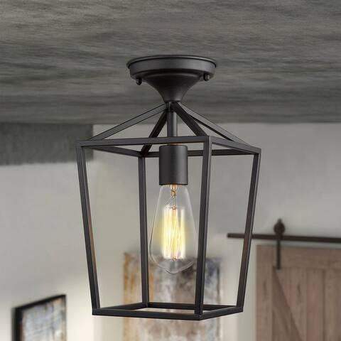 "Emliviar 1-Light Black Metal 12.9"" Caged Semi Flush Mount Ceiling Lighting"