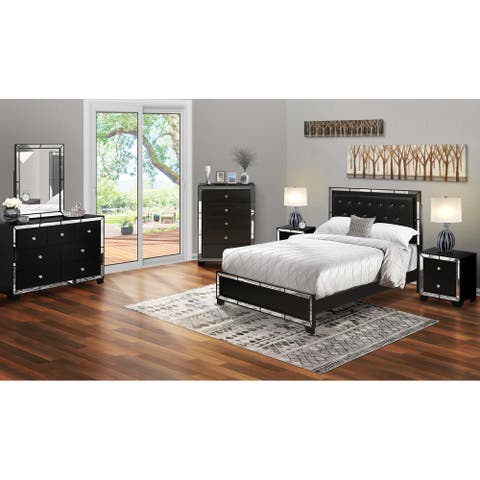 6-Piece Queen Bed Set with Light Up headboard-Bed ,Dresser, Mirror ,Chest, 2 End Table - Black Faux Leather Headboard