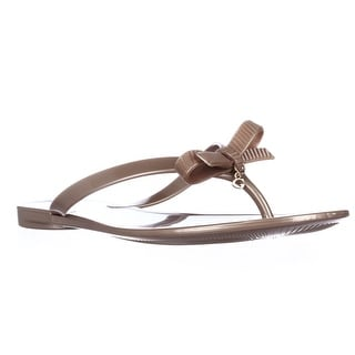 GUESS Joyae Jelly Charm Flip Flops, Light Natural