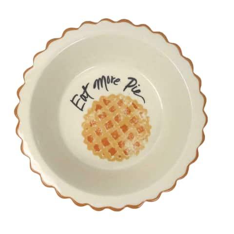 "Martha Stewart Collection 7"" Mini Pie Plate Eat More Pie Baking Stoneware - Orange"