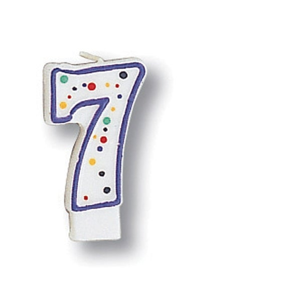 Polka Dot Numeral Candle #7