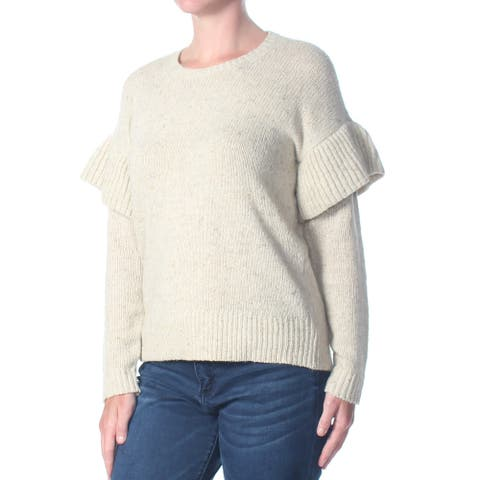 RALPH LAUREN Womens Ivory Long Sleeve Crew Neck Sweater Size XS