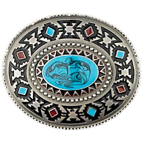 Silver Tone Belt Buckle with Blue Stone Detail - One size