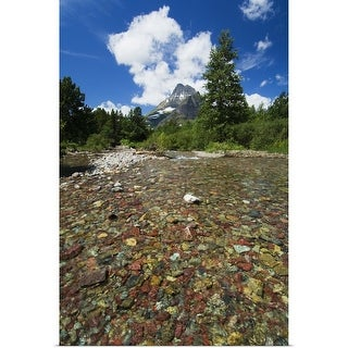 """Colorful rocks in Red Rock Creek, distant mountain peak, Glacier National Park, Montana"" Poster Print"