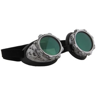 Steampunk CyberSteam Costume Goggles Silver Green Adult - Black