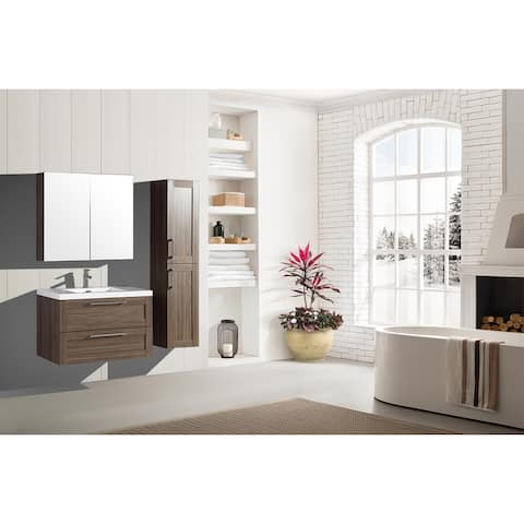 The Cosmo Elm Collection 36 Inch Floating Modern Bathroom Vanity