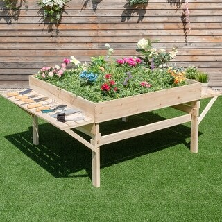 Costway Wood Garden Raised Bed Plant Planter Flower Elevated Gardening Workstation