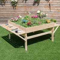 Costway Wood Garden Raised Bed Plant Planter Flower Elevated Gardening Workstation - as pic