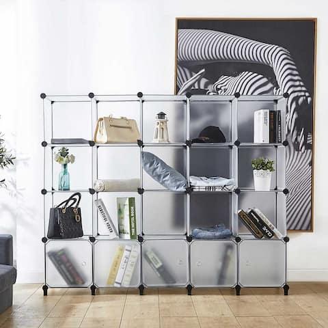 20-Cube Storage Organizer with Doors,Portable Closet Storage Wardrobe