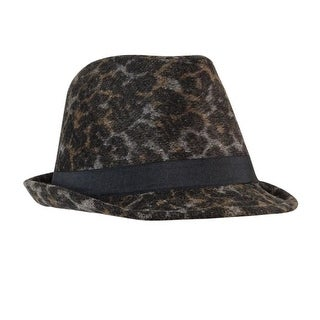 Collection Eighteen Women's Leopard Wool Blend Fedora - stonewash grey - os