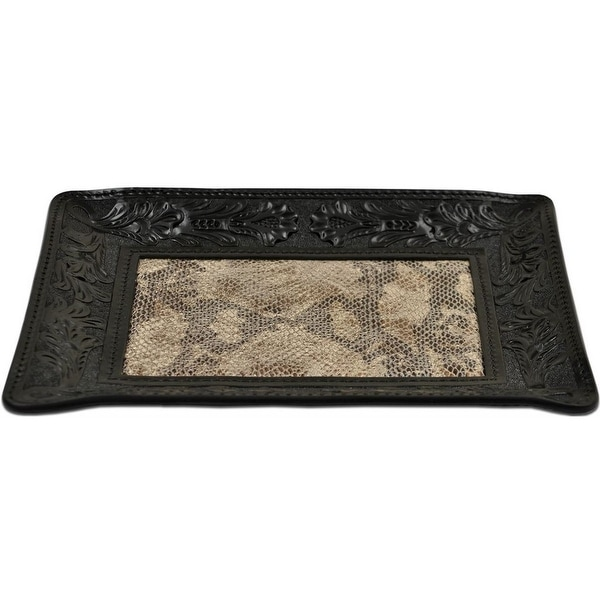 "3D Western Valet Tray Snake Embossed 9"" x 7"" Black HD112"