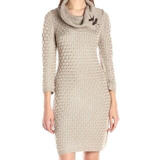 Calvin Klein NEW Beige Women's Size Large L Cowl Neck Sweater Dress