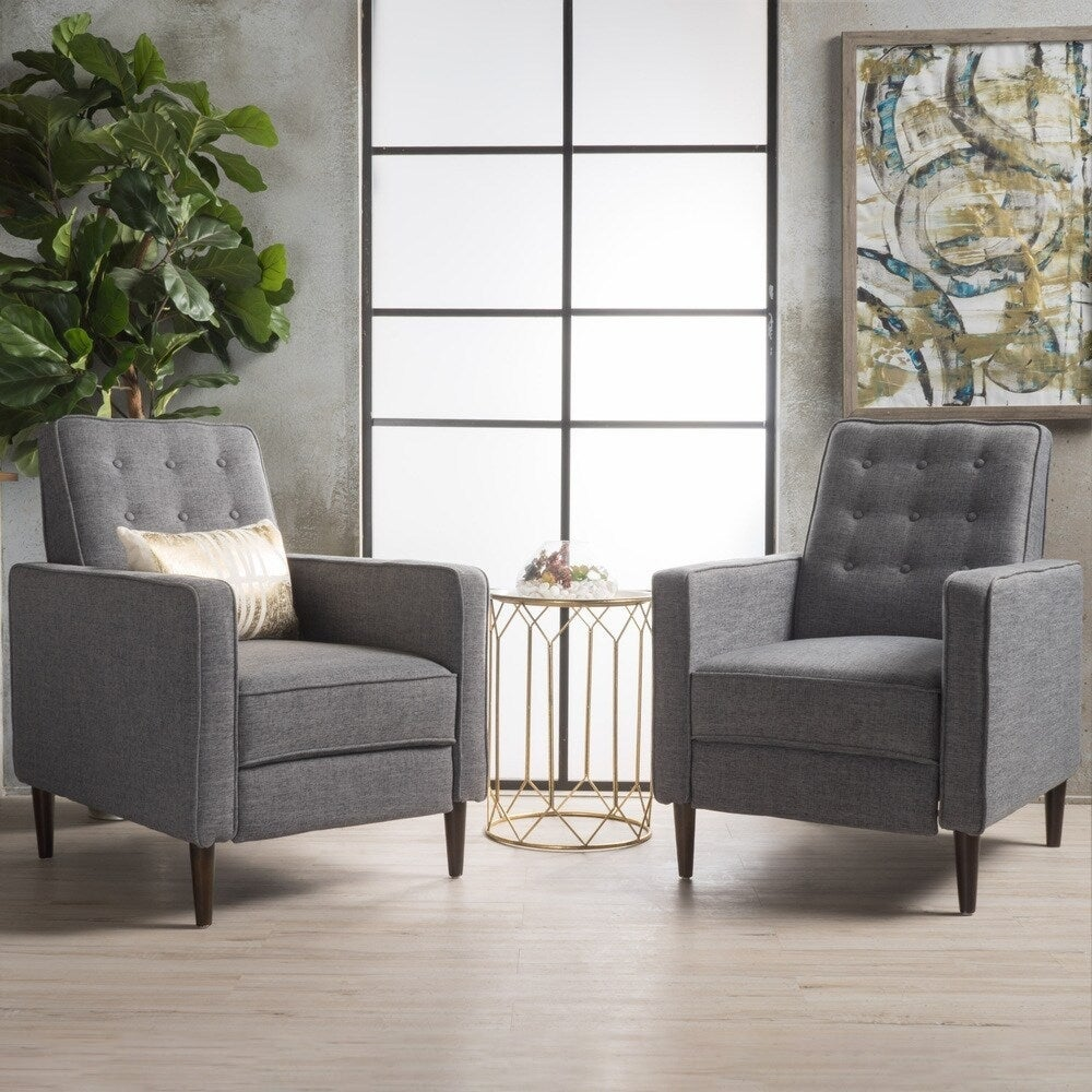 Mervynn Mid-Century Modern Button Tufted Fabric Recliner (Set of 2) by Christopher Knight Home. Opens flyout.