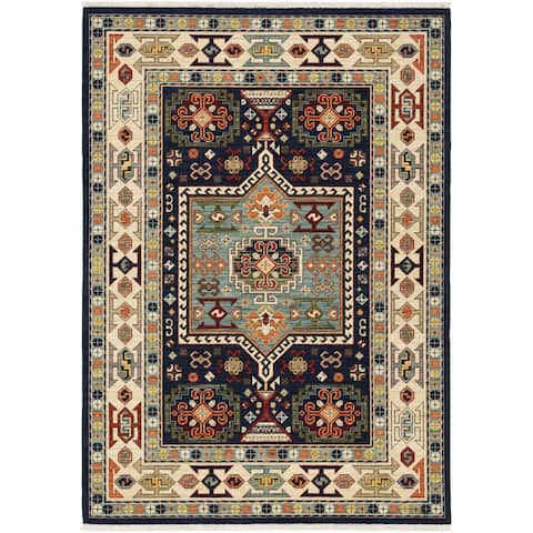 Leander Vintage Medallion Fringed Wool Blend Area Rug