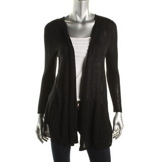 Avec Womens Linen Ribbed Trim Cardigan Sweater