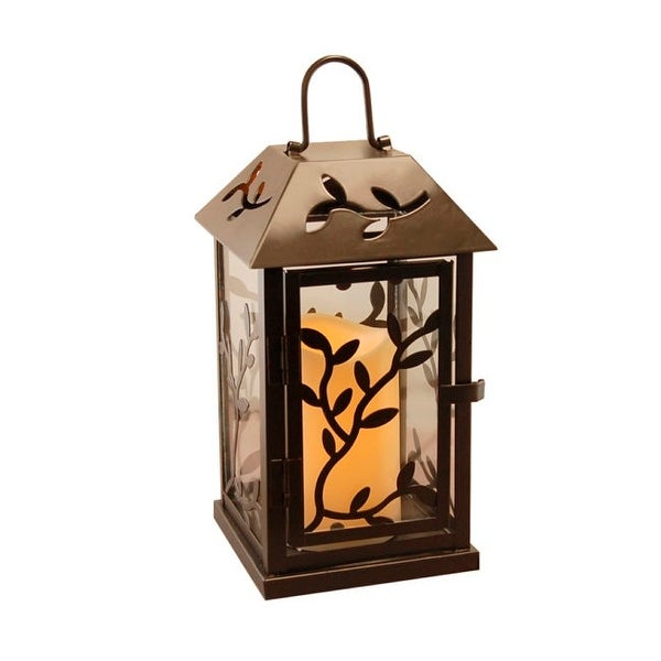 "9"" Black Vine Design Metal Lantern with Battery Operated LED Lighted Candle - N/A"