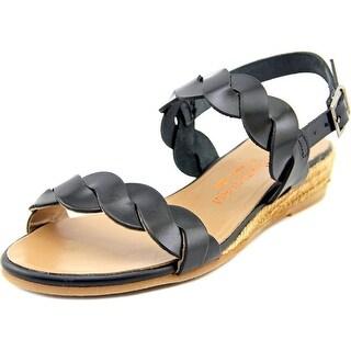 Eric Michael Noelia Women Open-Toe Leather Black Slingback Sandal