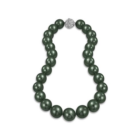 Black Peacock Strand Necklace Crystal Clasp Imitation Pearl 14MM