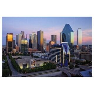 """Dallas skyline at dusk, Texas"" Poster Print"