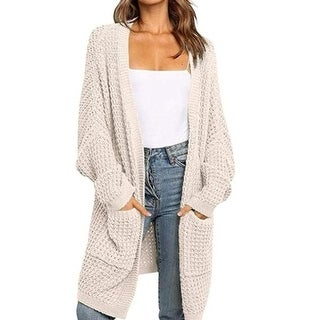 Link to Batwing Sleeve Open Front Chunky Cable Knit Cardigan Sweater With Pockets Similar Items in Women's Sweaters