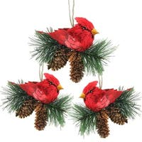 "Pack of 3 Red Cardinal Birds on Pine Cones Christmas Ornaments 5"" - green"