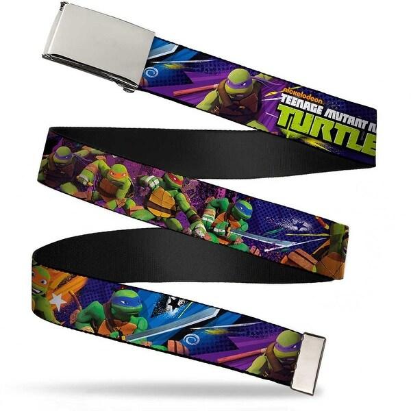 Blank Chrome Buckle Teenage Mutant Ninja Turtles New Series Logo2 Web Belt