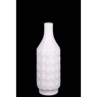 Artistically Designed Ceramic Bottle Vase With Diamond Pattern, Small, White