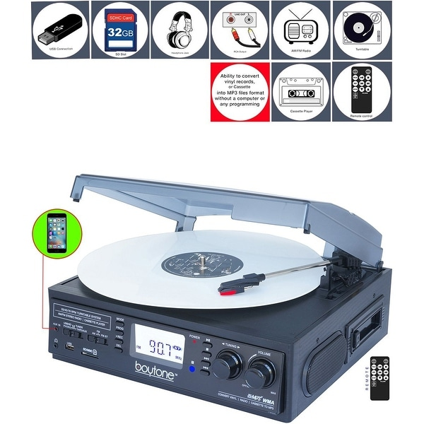 Boytone BT-19DJB-C 3-speed Turntable, 2 Built in Speakers Large Digital Display AM/FM, Cassette, USB/SD/AUX/MP3, Recorder & WMA
