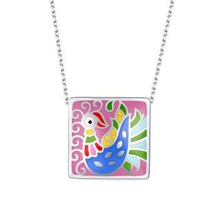 Vedantti Madhubani Art Peacock Multi Color Enamel Square Necklace