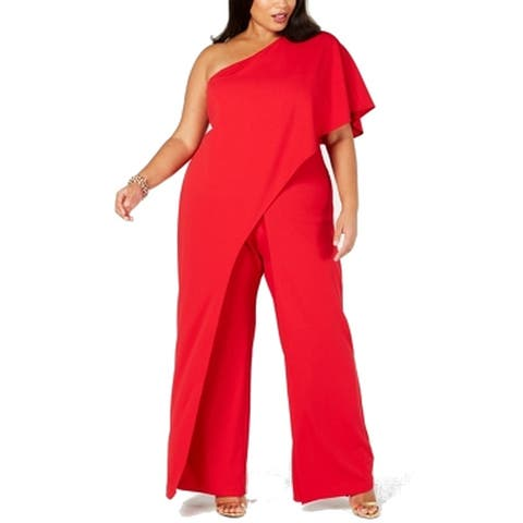 Adrianna Papell Women's Jumpsuit Red Size 24W Plus One Shoulder